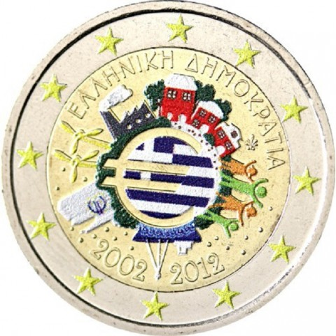 2 Euro Greece 2012 - Ten years of Euro II.  (colored UNC)