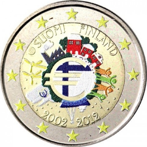 2 Euro Finland 2012 - Ten years of Euro II.  (colored UNC)