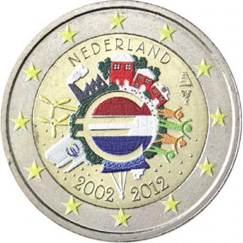 2 Euro Netherlands 2012 - Ten years of Euro II. (colored UNC)