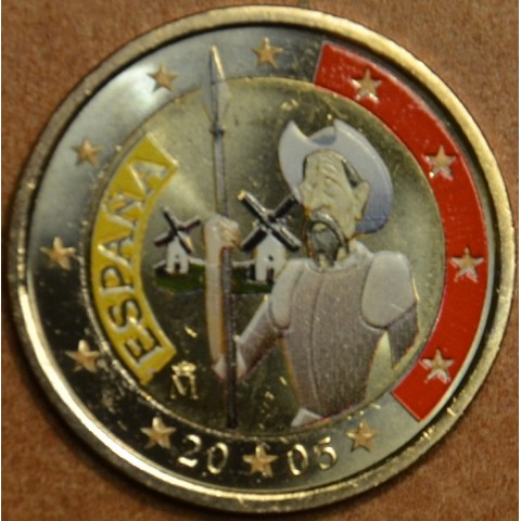 2 Euro Spain - 4th centenary of the first edition of Cervantes' The ingenious gentleman Don Quixote III. (colored UNC)