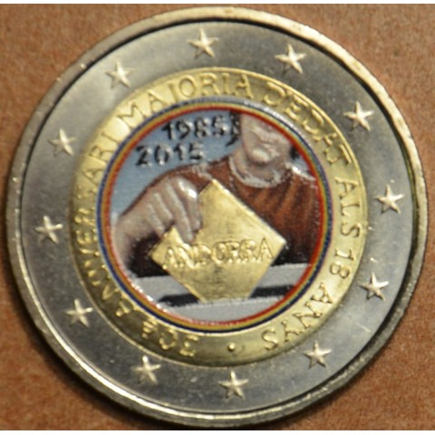 2 Euro Andorra 2015 - 30th anniversary of the Coming of Age and Political Rights II. (colored UNC)