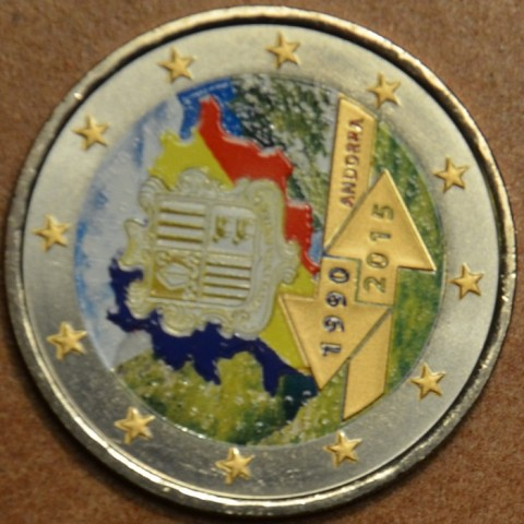 2 Euro Andorra 2015 - 25th anniversary of the Signature of the Customs Agreement with the European Union III.  (colored UNC)