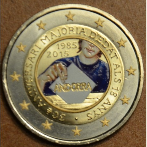 2 Euro Andorra 2015 - 30th anniversary of the Coming of Age and Political Rights III. (colored UNC)