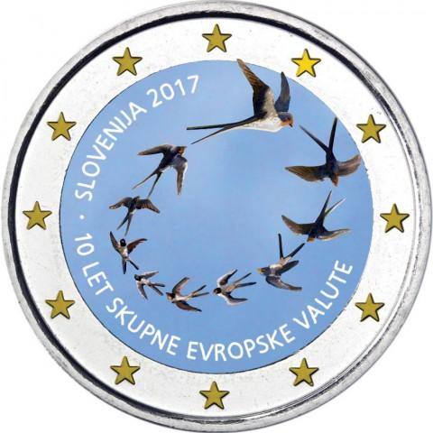 2 Euro Slovinsko 2017 - 10. výročie zavedenia Eura (farebná UNC)