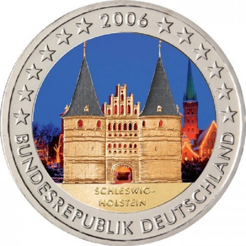 "2 Euro Germany ""G"" 2006 - Holstentor in Lübeck / Schleswig-Holstein II. (colored UNC)"