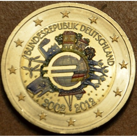 "2 Euro Germany ""J"" 2012 - Ten years of Euro  (colored UNC)"