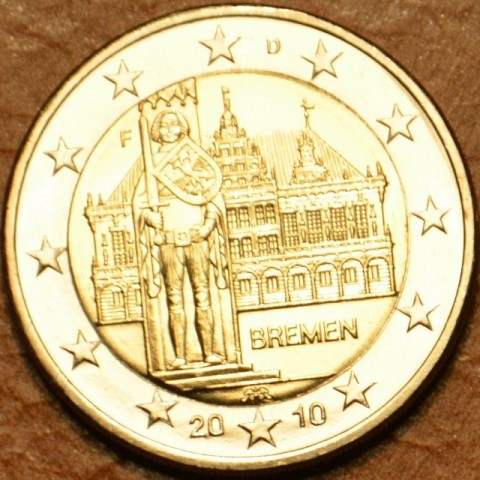 "2 Euro Germany ""F"" 2010 - Bremen: Town hall with sculpture of Roland  (UNC)"