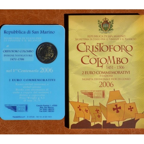2 Euro San Marino 2006 - 500th Anniversary of the Death of Christopher Columbus (BU)