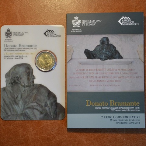 2 Euro San Marino 2014 - 500th anniversary of the death of Donato Bramante  (BU)
