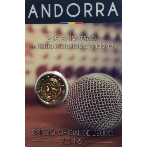 2 Euro Andorra 2016 - 25 years of TV and radio (BU card)