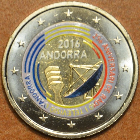 2 Euro Andorra 2016 - 25 years of TV and radio (colored UNC)