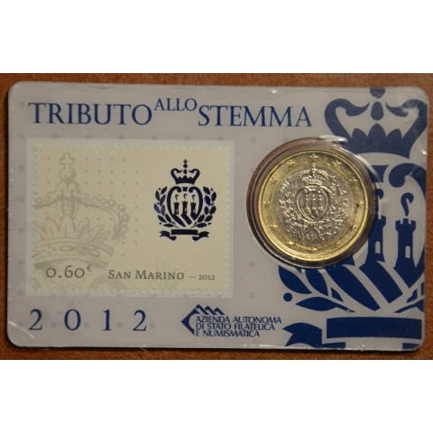 1 Euro San Marino 2012 (BU card with stamp)