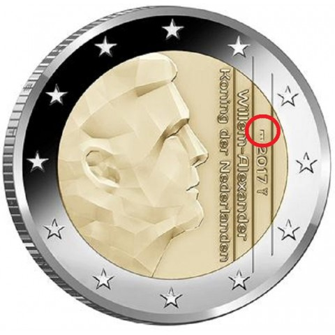 "2 Euro Netherlands 2017 - New mintmark ""bridge"" (UNC)"