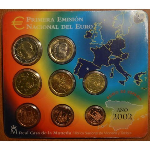 Official set of 8 Spanish coins 2002  (BU)