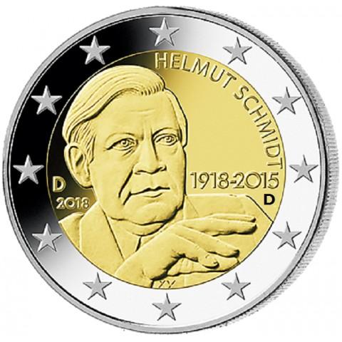"""2 Euro Germany """"D"""" 2018 - Helmut Schmidt (UNC)"""