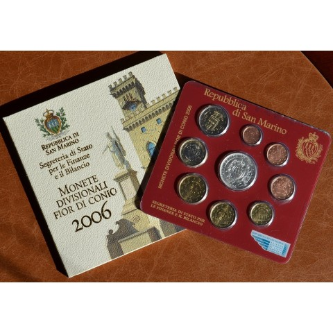 Official 9 coins set of San Marino 2006 (BU)