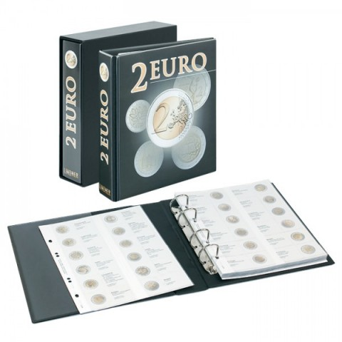 Lindner PUBLICA album for 2 Euro coins with slipcase
