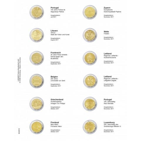 19. strana do Lindner multi collect albumu na 2 Euro mince (Júl - December 2017)