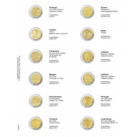 Lindner pages into multi collect album of 2 Euro coins 2017  (July - December)