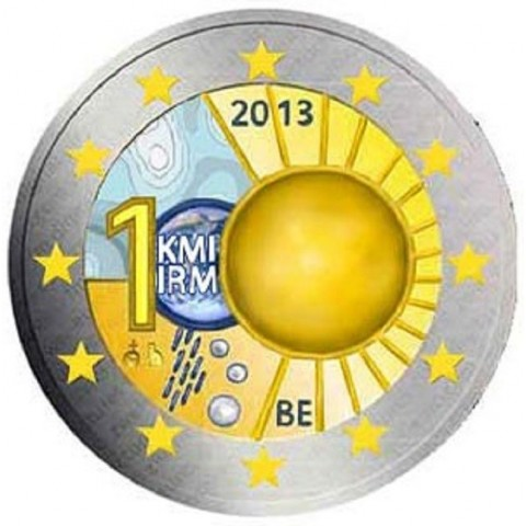 2 Euro Belgium 2013 - 100th anniversary of the Royal Meteorological Institute (colored UNC)