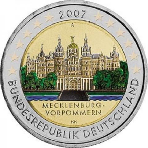 """2 Euro Nemecko """"A"""" 2007 - Mecklenburg-Vorpommern: Schwerin Castle (UNC)"""