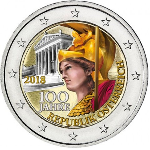 2 Euro Austria 2018 - Centenary of the Republic of Austria III. (colored UNC)