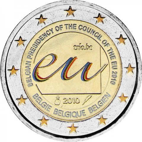2 Euro Belgium 2010 - Belgian Presidency of the Council of the European Union (UNC colored)