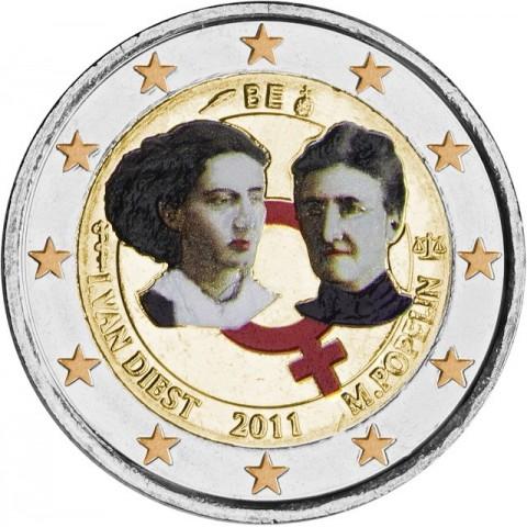 2 Euro Belgium 2011 - 100th anniversary of International Women's Day (UNC colored)