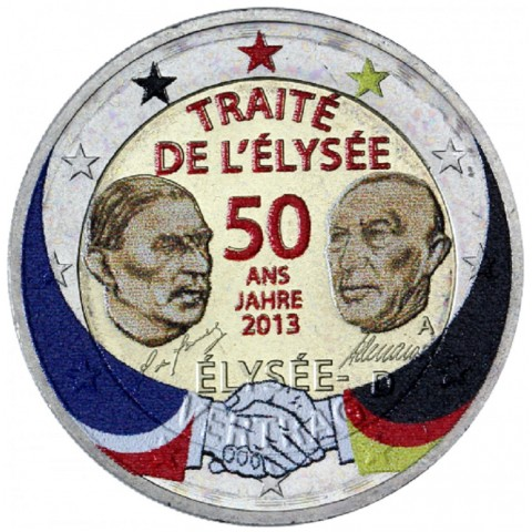 "2 Euro Germany ""A"" 2013 - 50 Years of the Élysée Treaty II. (colored UNC)"