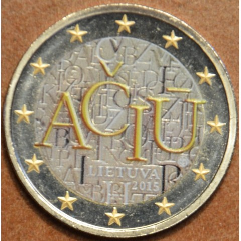 2 Euro Lithuania 2015 - Aciu: lithuanian language III. (colored UNC)