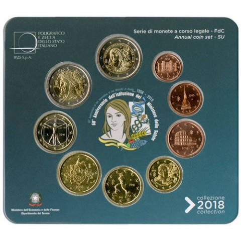 Set of 9 coins Italy 2018 (BU)