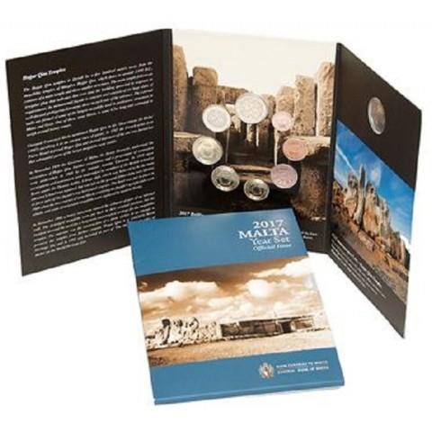 """9 dielna sada mincí Malta 2017 s pamätnou 2 Euro mincou so značkou """"F"""" (BU)"""
