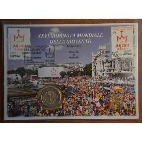 2 Euro Vatican 2011 - XXVI World Youth Day Madrid 2011 (UNC with stamps)