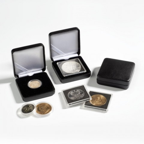 Leuchtturm Nobile small leatherette box for 2 Euro coin