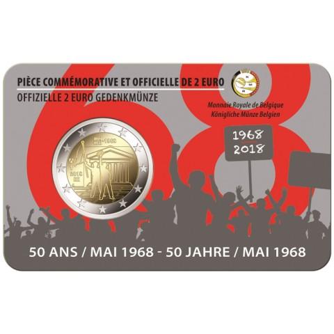Predpredaj 2 Euro Belgicko 2018 - 1968 francúzska strana (BU karta)
