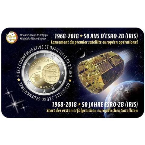2 Euro Belgicko 2018 - 50. výročie satelitu ESRO-2B (BU - francúzska strana)