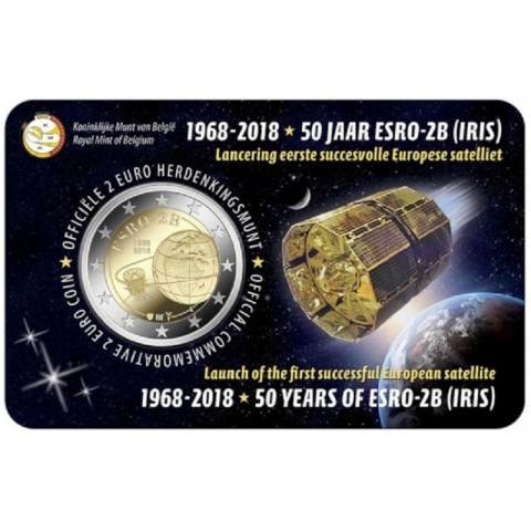 2 Euro Belgicko 2018 - 50. výročie satelitu ESRO-2B (BU - holandská strana)