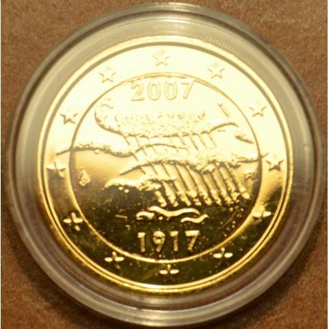 2 Euro Fínsko 2007 - 90. výročie nezávislosti Fínska (pozlátená UNC)