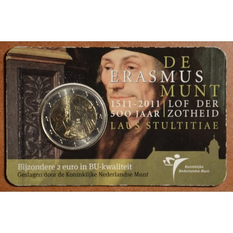 2 Euro Netherlands 2011 - The 500th anniversary of the world-famous book Laus Stultitiae by Erasmus  (BU card)