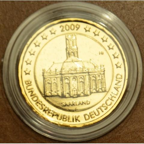 """2 Euro Nemecko """"F"""" 2009 - Sársko: Kostol Ludwigskirche (pozlátená UNC)"""