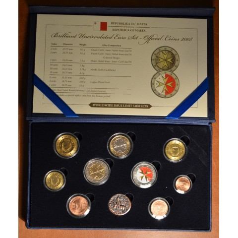 Set of 9 coins Malta 2008 (UNC)