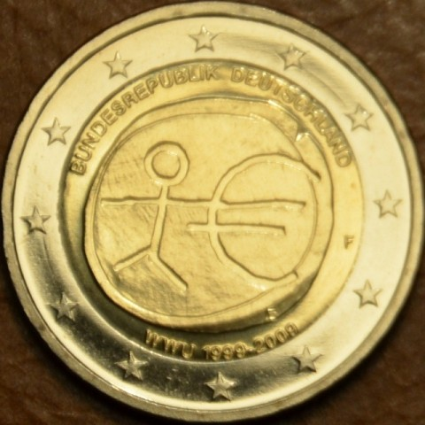 """2 Euro Nemecko """"F"""" 2009 - 10. výročie hospodárskej a menovej únie  (UNC)"""