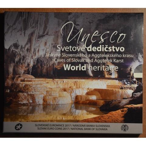 Cover for set of 8 Slovak coins 2017 UNESCO: Caves of Slovak Karst
