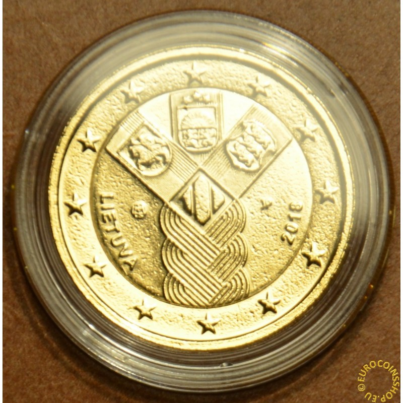 2 Euro Lithuania 2018 - Baltic Community Issue - 100 Years of Independence (gilded UNC)
