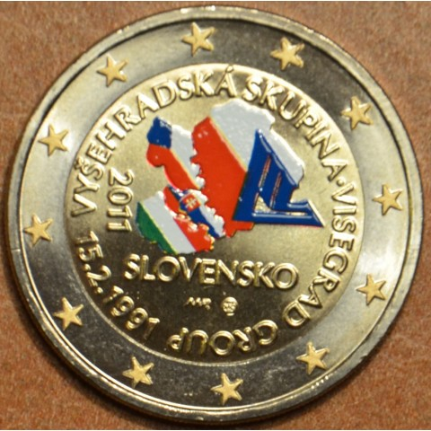 2 Euro Slovakia 2011 - 20th anniversary of the formation of the Visegrad Group VI. (colored UNC)