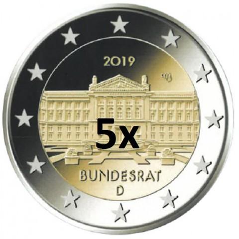 """2 Euro Germany """"ADFGJ"""" 2019 - Bundesrat (5x UNC)"""