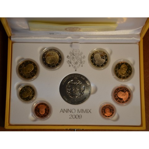 Official 8 coins set of Vatican 2009 + Ag medal (Proof)