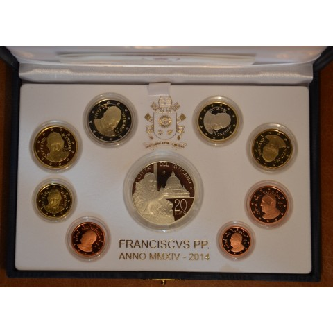 Official 8 coins set of Vatican 2014 + 20 Euro Ag coin (Proof)