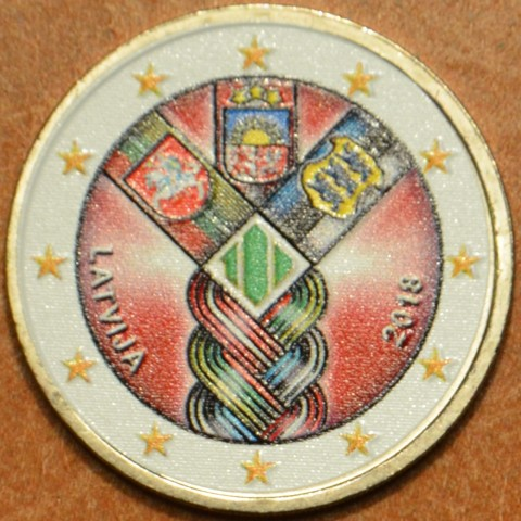 2 Euro Latvia 2018 - Baltic Community Issue - 100 Years of Independence V. (colored UNC)