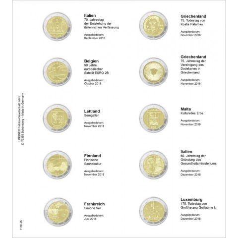 Lindner pages into album of 2 Euro coins (July 2018 - December 2018)